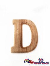 """Medium Oak Wood Alphabet Letter """"D"""" Natural Brown Uppercase Home Decor Art Craft"""
