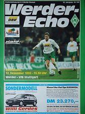 Programm 1992/93 SV Werder Bremen - VfB Stuttgart