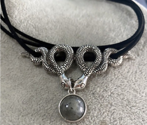 Double Snake Choker/Collar with Labradorite. Cosplay, Witch, Goth, Punk, Biker