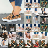 Womens Slip On Flat Trainers Sneakers Canvas Loafers Pumps Casual Comfy Shoes