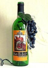 """HEN PECKED"" Label LIGHTED WINE BOTTLE w/ GRAPES - Night Light HOME DECOR"