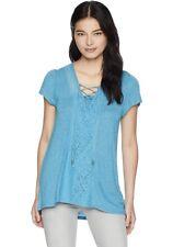 OneWorld Women's Petite Short Sleeve Striped Lace Up Neck Top Blue Blouse PXL