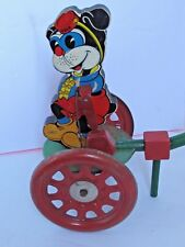 Vintage Trix Character Gong Bell Push Toy Paper Litho, Metal and Wood