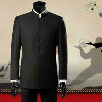 Mens Stand Collar Single Breasted Traditional Mandarin Slim Fit Suit Coat jacket