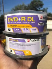 Verbatim DVD+R DL 2.4X 8.5 GB 240* Min Video, 20 Pack, NEW X2 Packs