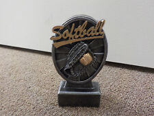 "New Softball award or trophy, with engraving, about 5"" tall, boys or girls"