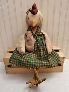 Primitive Grungy Chicken Doll & Her Little Grubby Egg