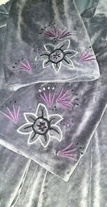 Gudrun Sjoden (Sjödén) Embroidered Purple Velvet Dress Size XL