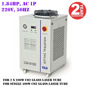 CW-6100AI Industrial Water Chiller for 2 x 200W or a 400W CO2 Glass Laser Tube