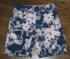 blaue Bade Shorts Gr 122 128 H&M Blumen Motiv Bermuda Kordelzug kurze Hose