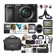 Sony Alpha a6000 24.3MP Mirrorless Camera (Black) with 16-50mm Lens Bundle
