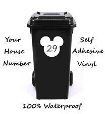 Cara de ratón número Personalizado Wheelie Bin/Caja De Reciclaje/número de casa adhesivo