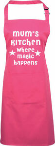 "MUMS KITCHEN ""WHERE MAGIC HAPPENS"" APRON FUNNY GIFT BBQ FREE UK POSTAGE"