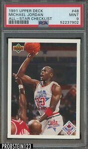 1991 Upper Deck All-Star Checklist #48 Michael Jordan Chicago Bulls HOF PSA 9