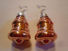 Ohrring mit Glocke Bronze Farben ca:4 cm groß aus Glas