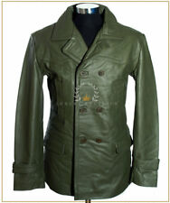 Kriegsmarine Army Green Men's German WW2 Cowhide Leather Deck Jacket Pea Coat