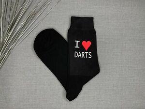 I Love Darts Mens Novelty Socks Vinyl Printed Birthday Socks Father's Day