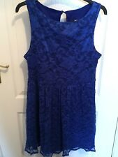 Jane Norman Bright Electric Blue Sleeveless Lace Style Dress Size 14
