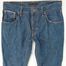 Mens Nudie LAB EMIL DRY Stretch Straight Selvedge Blue Jeans W32 L34