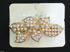 60% OFF! FASHION JEWELRY SIMULATED PEARLS W/ RHINESTONES HAIR CLIP #18 P178