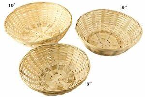 "Set of 3 Natural All-Purpose Rustic Round Display Storage Basket, Bamboo, 2.5"""