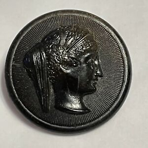 Antique Horn Button Female Profile Grecian Face High Relief Large