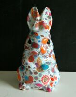 """Easter Spring adorable Floral Resin Bunny Rabbit Figurine Tabletop Decor 8"""" NEW"""