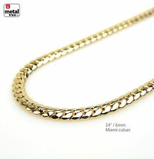 """6 mm Solid 14k Yellow Gold Plated Miami Cuban Link Chain Necklace 24"""""""
