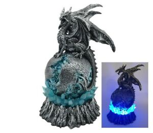 Dragon Sitting Crystal Orb Light LED Ornament Statue Figurine Sculpture 26 CM