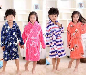 Kids Hooded Bathrobes with Plush Soft Flannel Robes Sleepwear Gift for 4-12 Years AIDEAONE Boys Girls Bathrobes