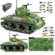 Ww2 Us Military M4A1 Sherman Tank w/4 Figures - Plastic Building Blocks Toy