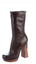 PRADA MID-CALF CLOG BOOT STUDS BROWN LEATHER ITALY 38