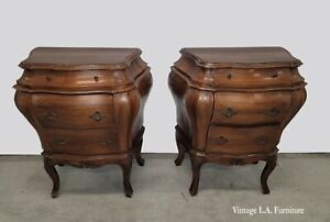 Pair of French Country Louis XV Brown Bombay Bombe Nightstands Made in Italy