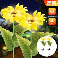 2PCS Outdoor Solar Sunflower & Rime Shape LED Light Garden Stake Lamp Waterproof