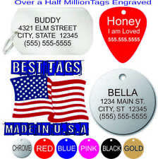 Pet Tags Dog tag ID Made in USA Many Shapes & Colors FREE Engraving BEST PRICE!