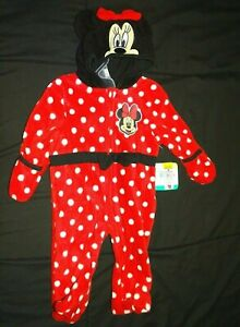 Disney Baby Red White Polka Dots Minnie Mouse Suit 3-6 Months hand covers