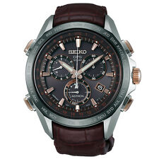 New Seiko Astron Solar GPS Leather Strap Men's Watch SSE025