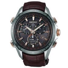 New Seiko Astron Solar GPS Leather Strap Men's Watch SSE025