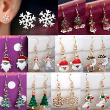 Cute Xmas Earrings Women Girls Dangle Drop Earrings Gold Studs Christmas Gift