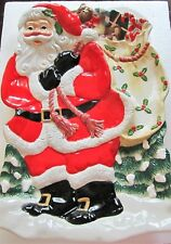 Fitz & Floyd SNACK THERAPY SANTA CLAUS Chip And Dip / Platter LARGE Gorgeous!