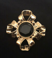 Givenchy Gold Maltese Bow Brooch Faceted Stone Pin