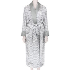 Thomas Wylde Luxurious White Grey Butterfly Skull Print Silk Satin Robe
