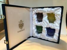 Faberge Xenia Signed Crystal Dof Whiskey Glass Cased Set Of Four With Box Set
