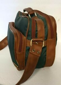 Vintage COAST Green 3 Pocket Zippered Camera and Accessory Bag Leather/Canvas