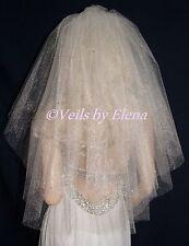 "Wedding Veil Bridal Elbow 2 Tiers 72"" Width 25"" 28"" length Cut Edge Crystals"