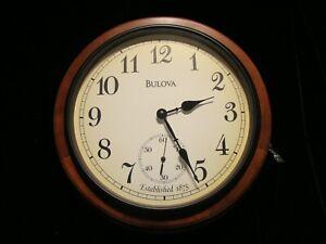 Bulova Wall Clock Richmond Deco Solid Wood Analog Dual Battery Operated C4447
