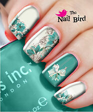 Nail Wraps Nail Art Nail Decals Nail Transfers MIXED SET 20 TURQUOISE FLOWERS
