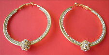 """Crystals Pave, Gold HOOP EARRINGS with Moving Ball 50 mm / 2"""" Diameter"""
