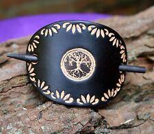 Keltische Lederhaarspange mit Holzstab - Lebensbaum  - schwarz -  handgemacht