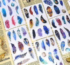 FEATHER STICKERS Bird Angel Scrapbook Journal Diary Card Book Craft Decoration